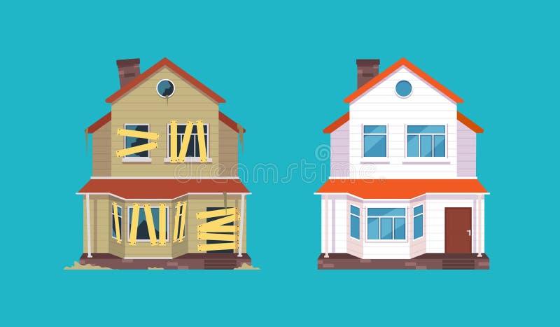 Steuern Sie Erneuerung automatisch an Haus vor und nach Reparatur Neues und altes Vorstadthäuschen Getrennte vektorabbildung vektor abbildung