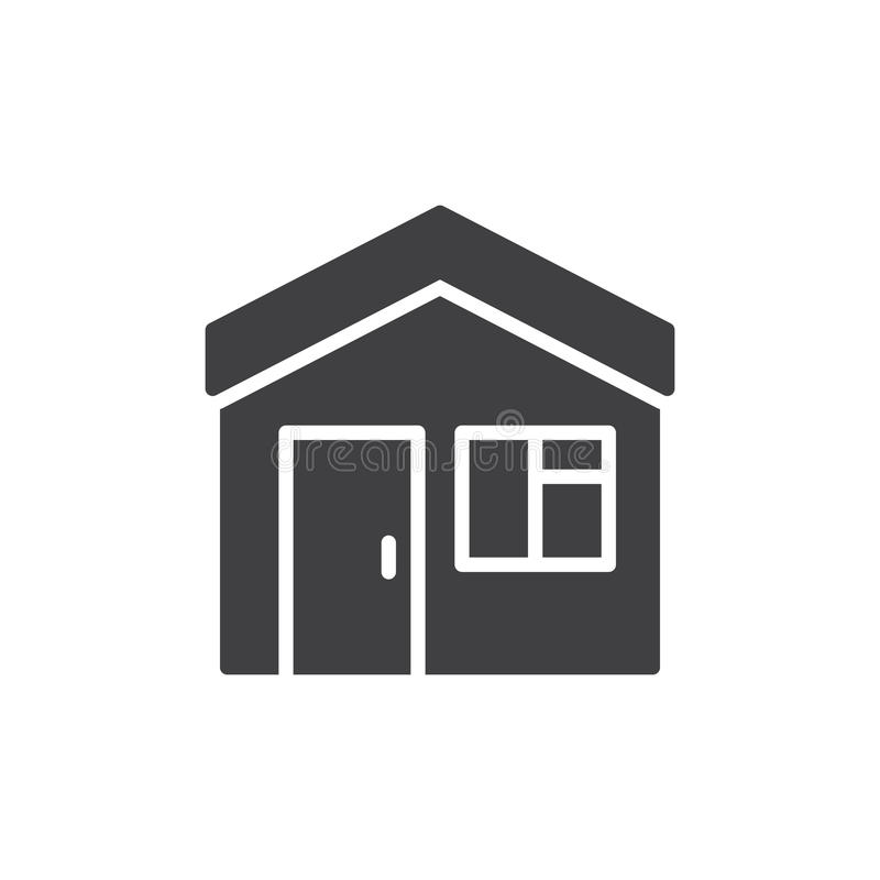 Steuern Sie, Hausikonenvektor, gefülltes flaches Zeichen, das feste Piktogramm automatisch an, das auf Weiß lokalisiert wird vektor abbildung