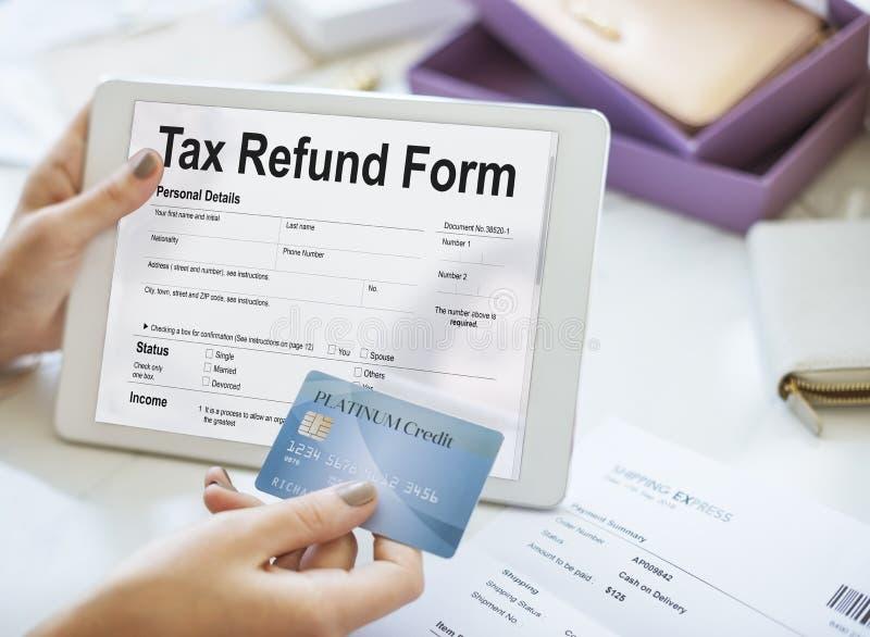 Steuerrückzahlungs-Anmeldeformular-Konzept lizenzfreies stockfoto