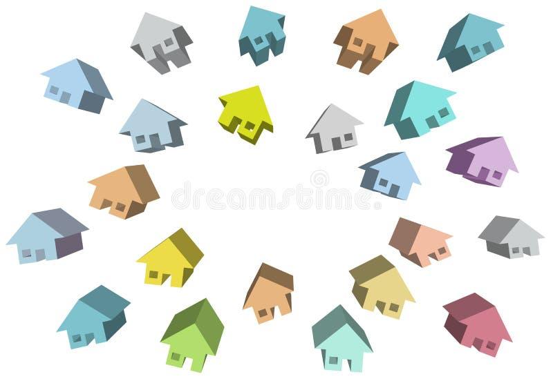 Steuert Gruppe Häuser 3D um Exemplarplatz automatisch an lizenzfreie abbildung
