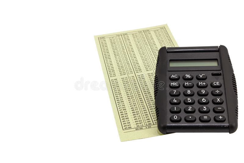 Steuertaschenrechner-Finanzdiagramm lokalisiertes Weiß lizenzfreie stockfotografie