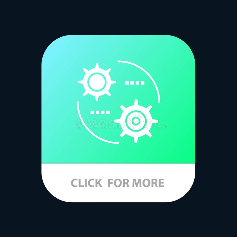 Steuerung, Einstellung, Gang, mobilen App-Knopf einstellend Android und IOS-Glyph-Version stock abbildung