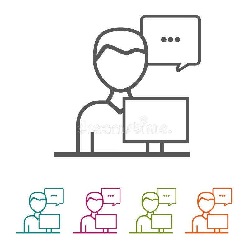 Steun Bedrijfsmensenpictogrammen in dunne lijnstijl en vlak Ontwerp vector illustratie