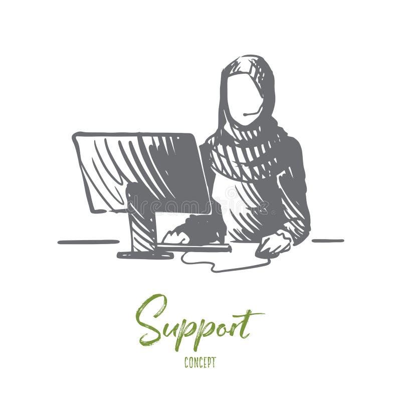 Steun, de dienst, mededeling, Islam, hijab concept Hand getrokken geïsoleerde vector royalty-vrije illustratie