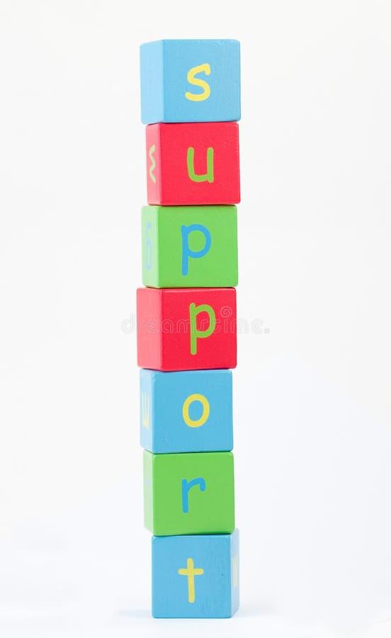 Steun die in brieven wordt beschreven stock foto