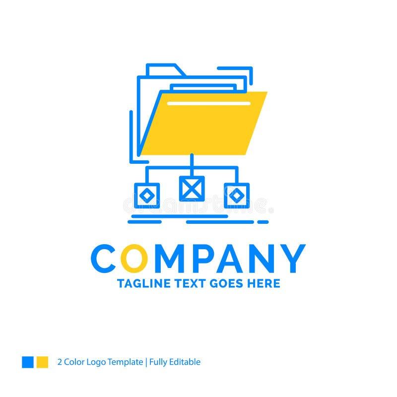 steun, gegevens, dossiers, omslag, netwerk Blauw Geel Bedrijfsembleem t royalty-vrije illustratie