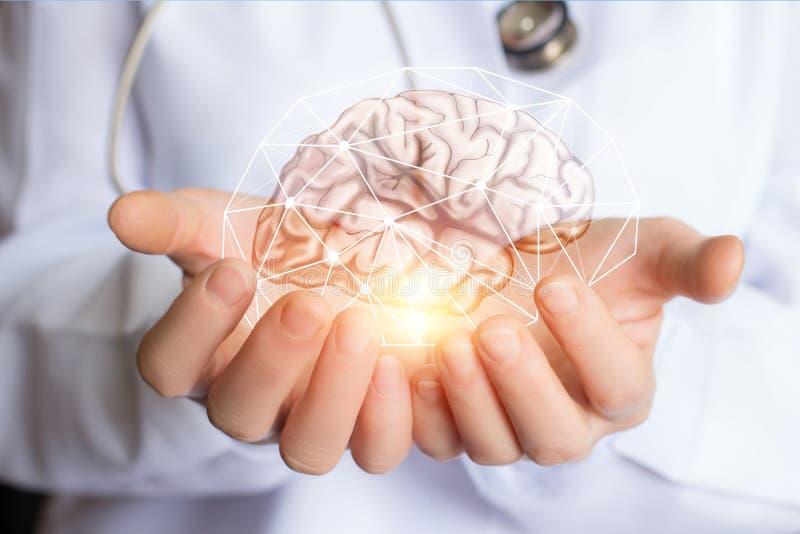 Steun gezond van de hersenen van de patiënt stock foto
