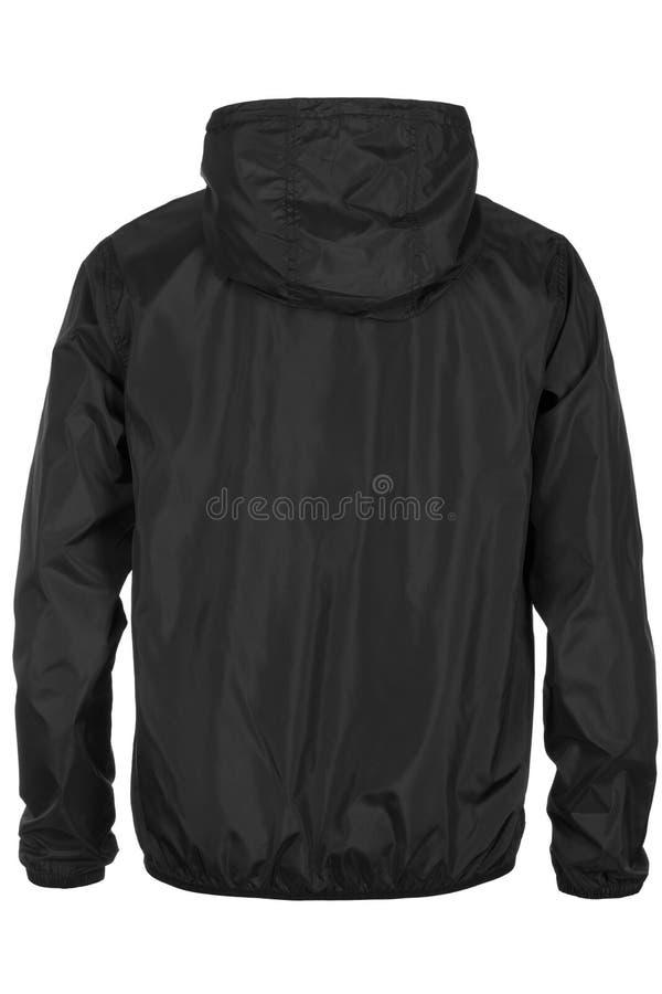 Steun van zwart jasje met kap op witte achtergrond stock foto's