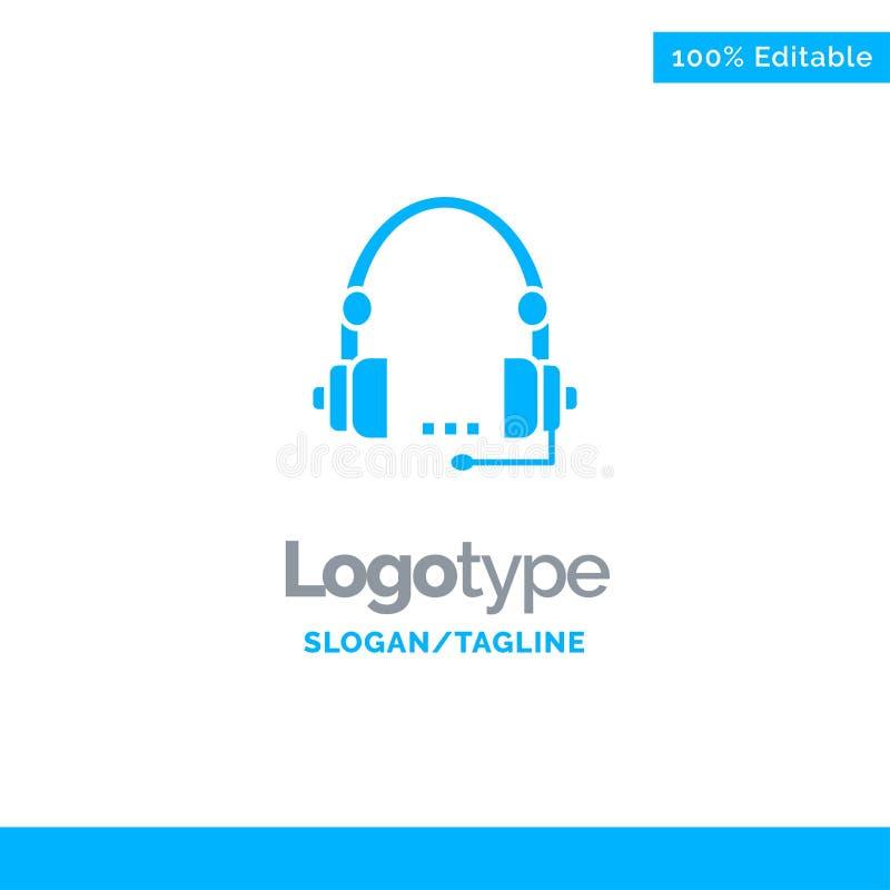 Steun, Vraag, Mededeling, Contact, Hoofdtelefoon, Hulp, de Dienst Blauw Stevig Logo Template Plaats voor Tagline vector illustratie