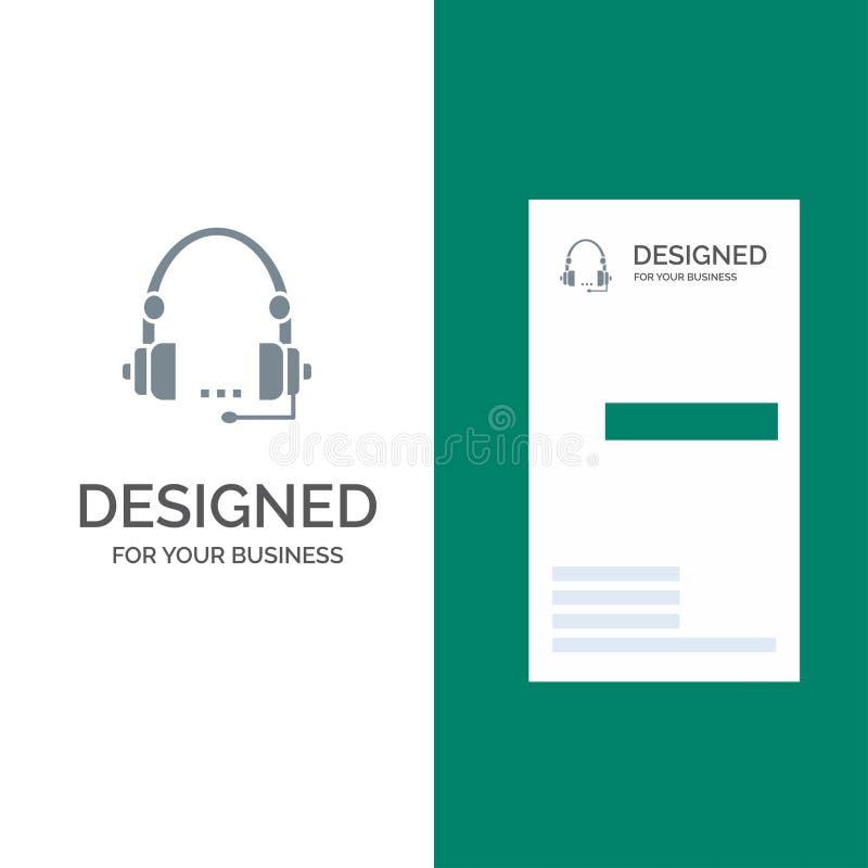 Steun, Vraag, Mededeling, Contact, Hoofdtelefoon, Hulp, de Dienst Grey Logo Design en Visitekaartjemalplaatje stock illustratie