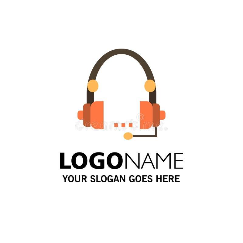 Steun, Vraag, Mededeling, Contact, Hoofdtelefoon, Hulp, de Dienstzaken Logo Template vlakke kleur stock illustratie