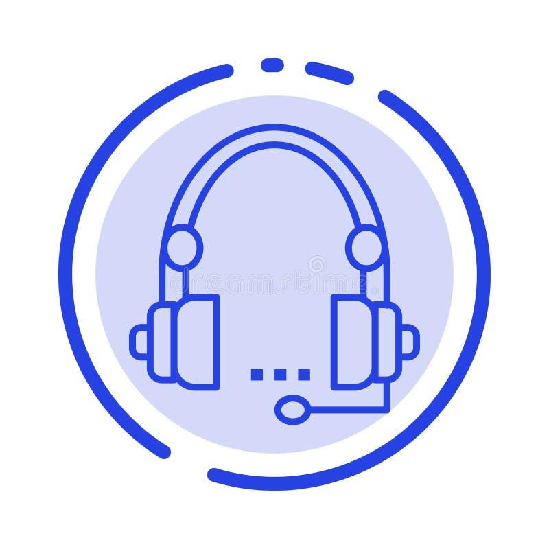 Steun, Vraag, Mededeling, Contact, Hoofdtelefoon, Hulp, de Lijnpictogram van de de Dienst Blauw Gestippelde Lijn vector illustratie
