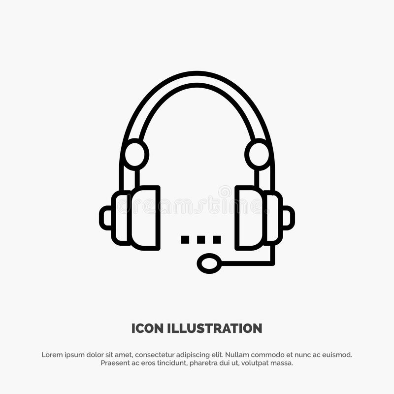 Steun, Vraag, Mededeling, Contact, Hoofdtelefoon, Hulp, het Pictogramvector van de de Dienstlijn stock illustratie