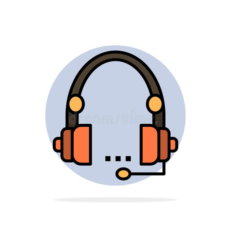 Steun, Vraag, Mededeling, Contact, Hoofdtelefoon, Hulp, van de de Achtergrond dienst Abstract Cirkel Vlak kleurenpictogram royalty-vrije illustratie