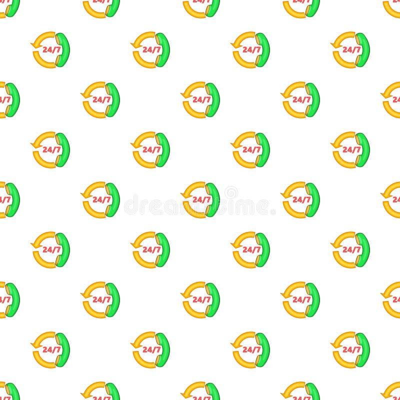 Steuncall centre het beeldverhaalstijl van het 24 urenpatroon vector illustratie