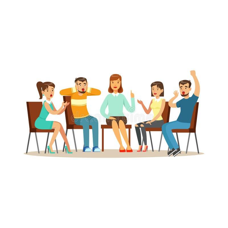 Steungroepstherapie, psycholoog adviserende mensen met diverse fobieën vectorillustratie stock illustratie