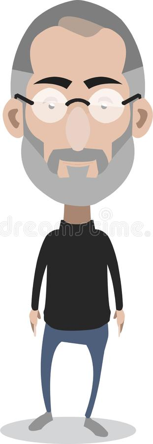 Steve Jobs. Apple Co-founder caricature standing during a presentation vector illustration
