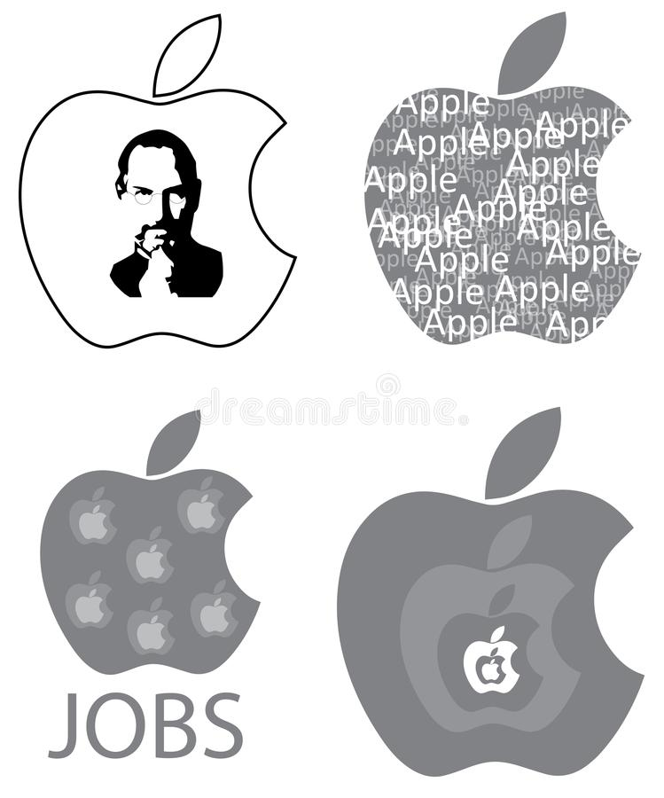 Steve Jobs Apple Logo Design Concepts vector illustration