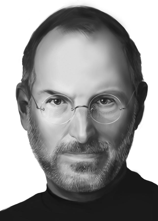 Steve Jobs Portrait Illustration. Illustration manually painted capturing the Apples founder - Steve Jobs. The format is not vector but has transparent