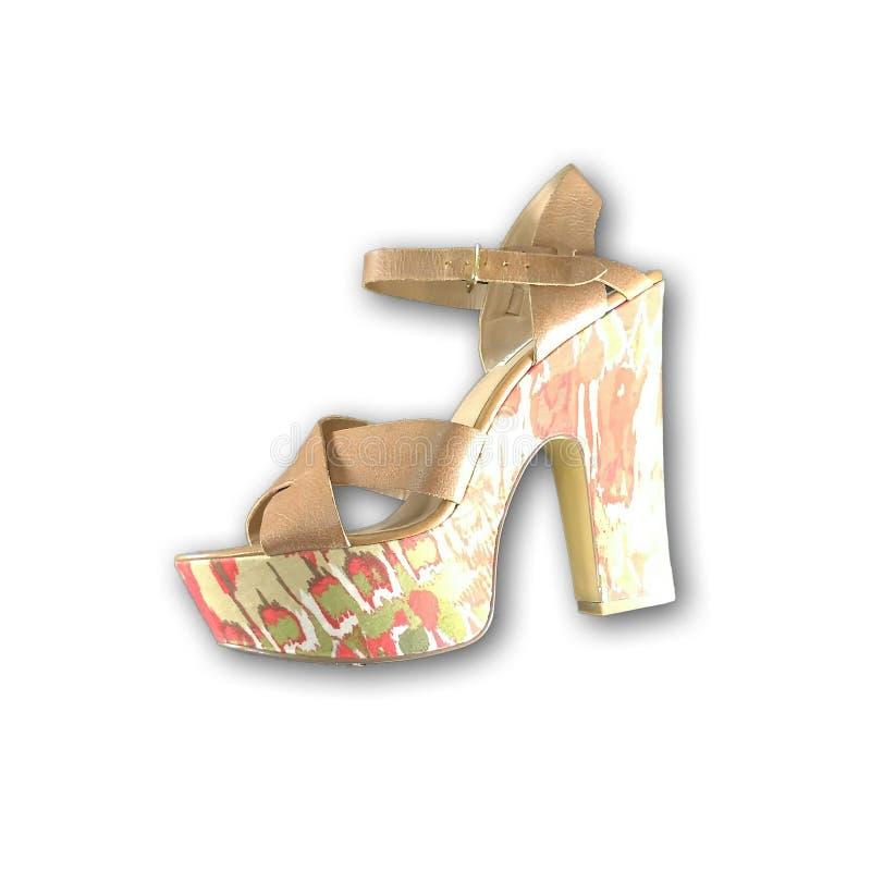 Free Steve Madden Women US 9 Brown Platform Sandal Pattern Wood Heal Strap Leather Shoe Platform Royalty Free Stock Image - 94975636