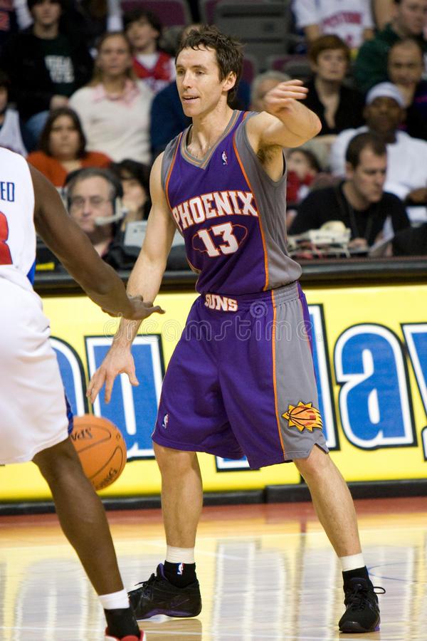 Steve Nash Directs Traffic. Steve Nash of the Phoenix Suns directs traffic during a game at The Palace of Auburn Hills against the Detroit Pistons royalty free stock photography
