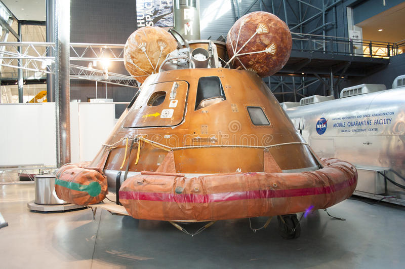 Steven F. Udvar-Hazy Smithsonian National Air and Space Museum Annex. An image of the Apollo Capsule at the Steven F. Udvar-Hazy Smithsonian National Air and royalty free stock photo