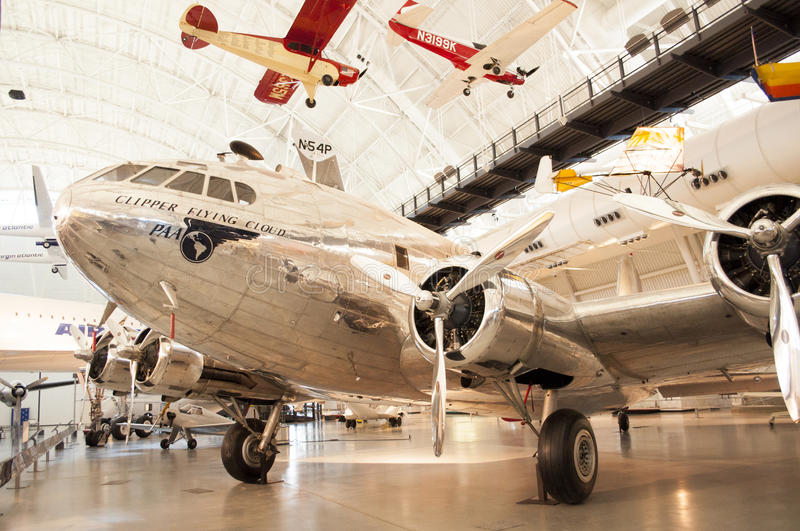 Steven F. Udvar-Hazy Smithsonian National Air and Space Museum Annex. An image of the Boeing 307 Stratoliner Clipper Flying Cloud at the Steven F. Udvar-Hazy royalty free stock image