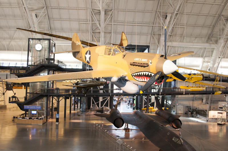 Steven F. Udvar-Hazy Smithsonian National Air and Space Museum Annex. An image of a Curtiss P-40E Warhawk at the Steven F. Udvar-Hazy Smithsonian National Air royalty free stock photography