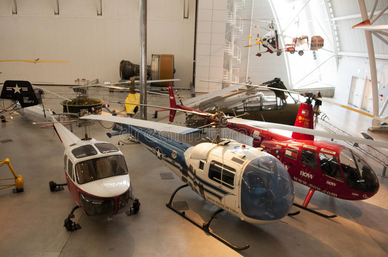 Steven F. Udvar-Hazy Smithsonian National Air and Space Museum Annex. An image of helicopters at the Steven F. Udvar-Hazy Smithsonian National Air and Space stock images