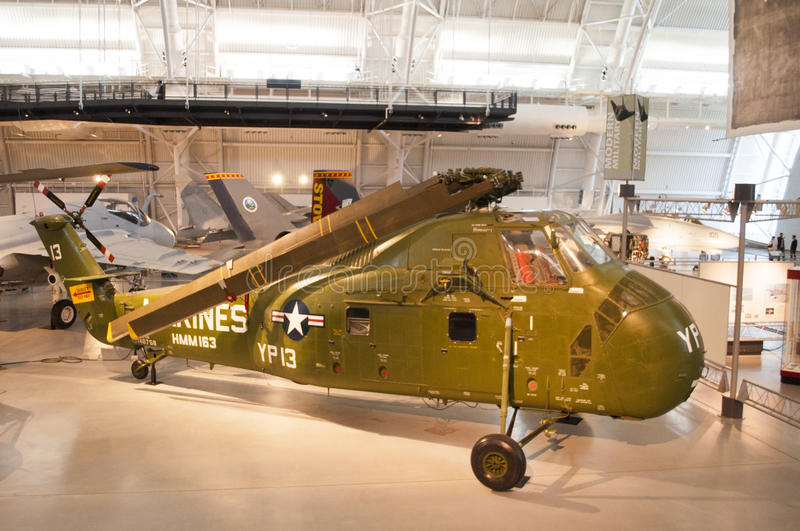 Steven F. Udvar-Hazy Smithsonian National Air and Space Museum Annex. An image of a Marine Sikorsky H-34 helicopter at the Steven F. Udvar-Hazy Smithsonian royalty free stock images