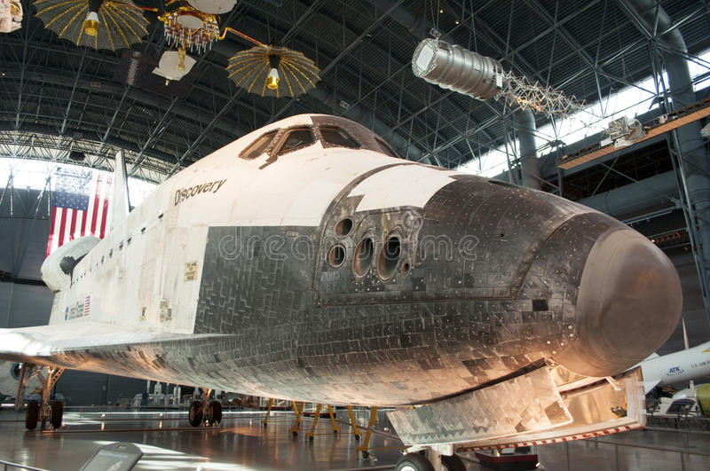 Steven F. Udvar-Hazy Smithsonian National Air and Space Museum Annex. An image of the Space Shuttle Discovery at the Steven F. Udvar-Hazy Smithsonian National stock photography