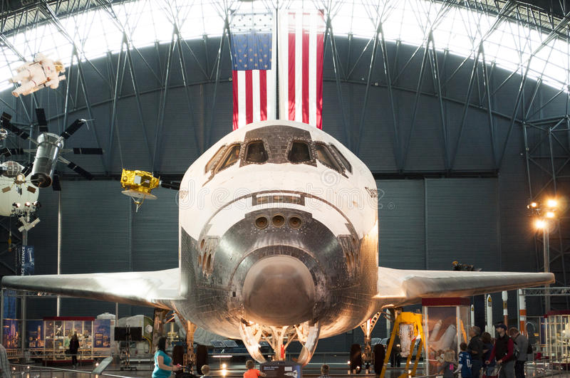 Steven F. Udvar-Hazy Smithsonian National Air and Space Museum Annex. An image of the Space Shuttle Discovery at the Steven F. Udvar-Hazy Smithsonian National stock photo