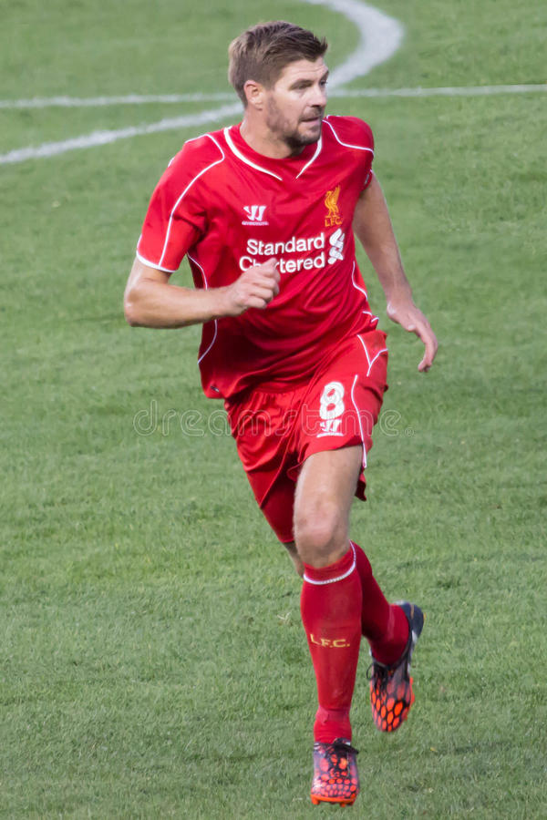 Steven Gerrard. This image shows LiverpoolFC and England captain Steven Gerrard during the Guinness International Champions Cup USA tour between Liverpool and royalty free stock photo