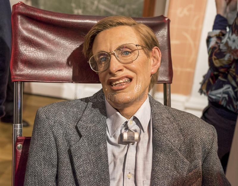 Steven Hawking. Wax figure in Madame Tussauds museum stock images