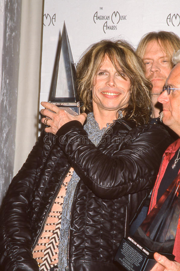 Steven Tyler at the American Music Awards. Steven Tyler of the Rock band Aerosmith together at the American Music awards in 2001. (Image taken from color slide royalty free stock images