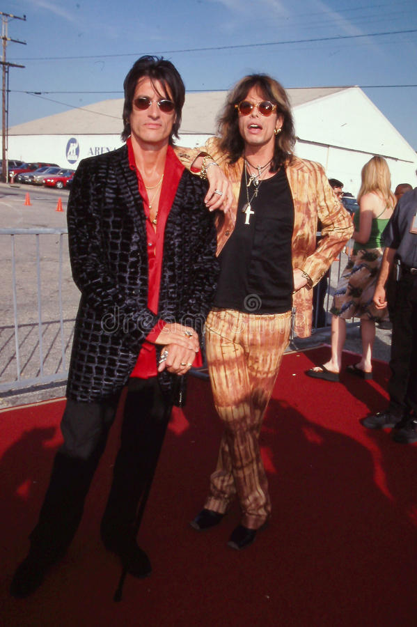 Steven Tyler and Joe Perry of Aerosmith. 1999 Teen Choice Awards royalty free stock images