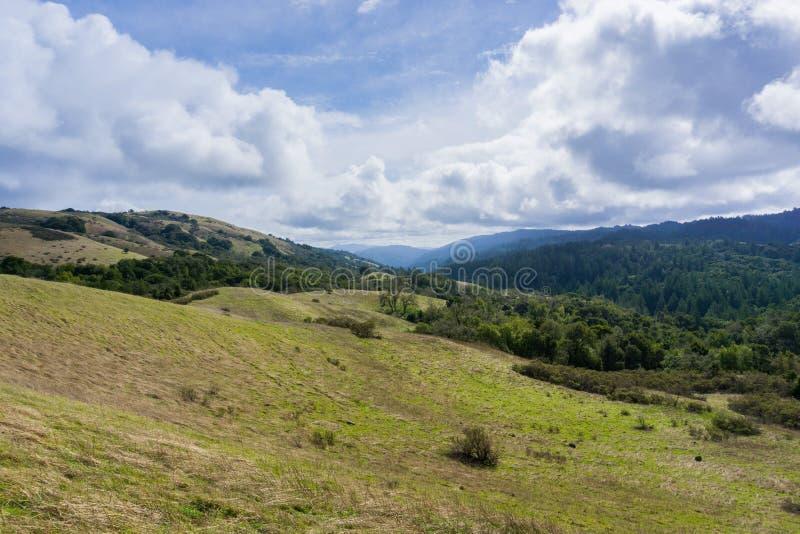 Stevens Creek-vallei; Santa Cruz-bergen op de achtergrond, de baaigebied van San Francisco, Californië stock foto