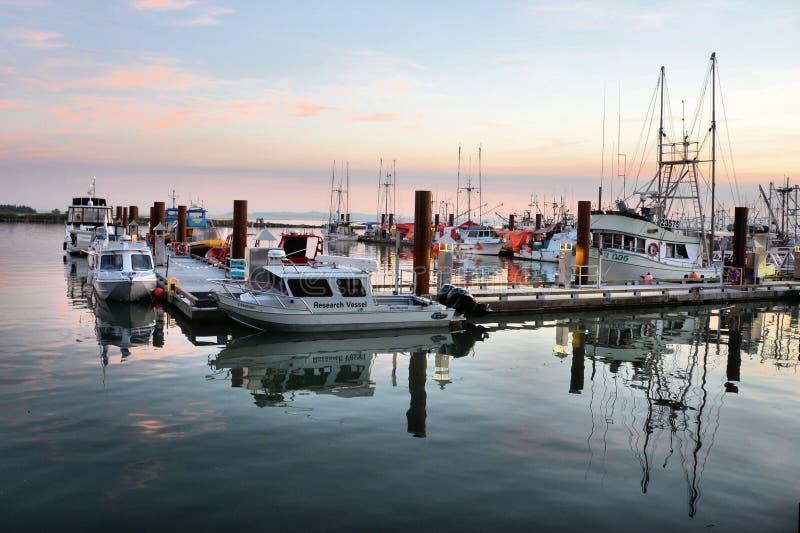 Steveston的小游艇船坞,BC 库存图片