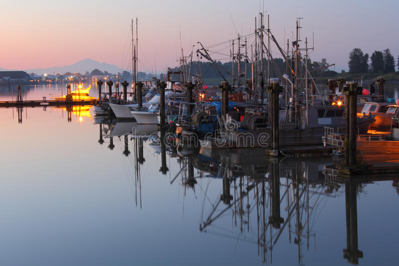 Steveston Calm Morning Reflections stock photo
