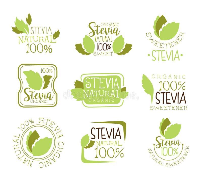 Stevia-Naturkost-Süßstoff-Zusatz-und Sugar Substitute Set Of Green-Farb-Logo Design Templates With Plant-Blätter vektor abbildung