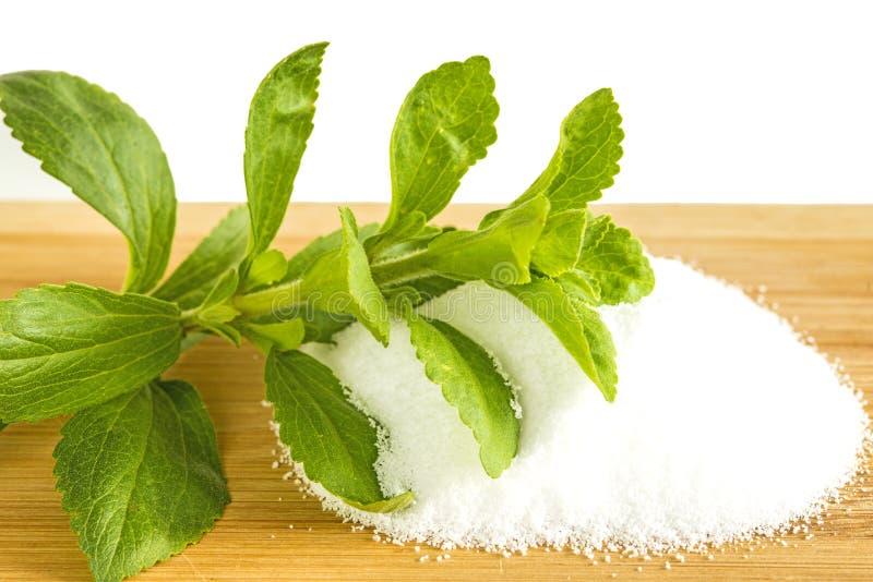 Stevia rebaudiana, support for sugar, powder stock photos