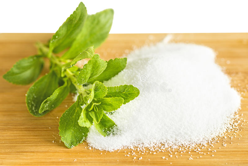 Stevia rebaudiana, support for sugar, powder stock photos