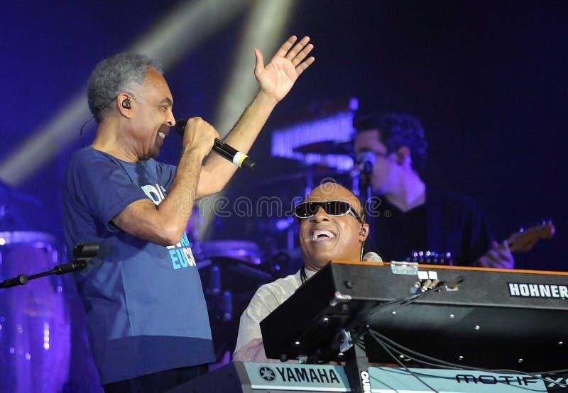 Stevie Wonder und Gilberto Gil stockbilder