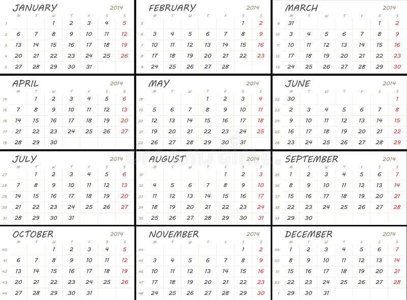 Stevig de kalendermalplaatje van 2014 royalty-vrije illustratie