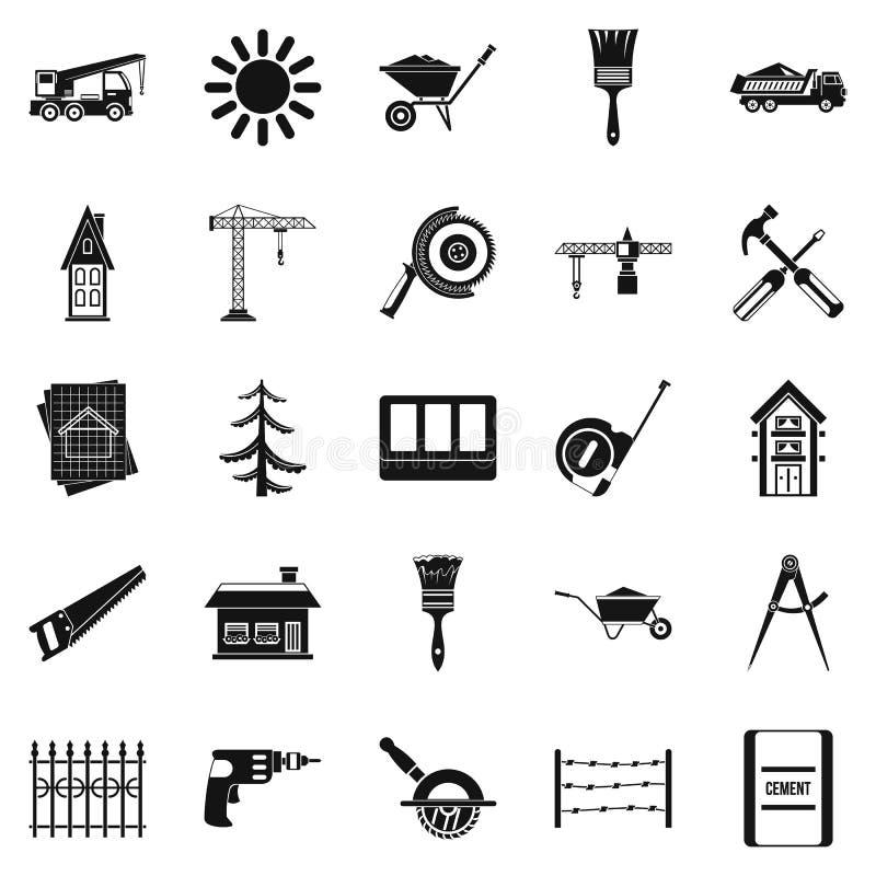 Stevige geplaatste bouwpictogrammen, eenvoudige stijl royalty-vrije illustratie