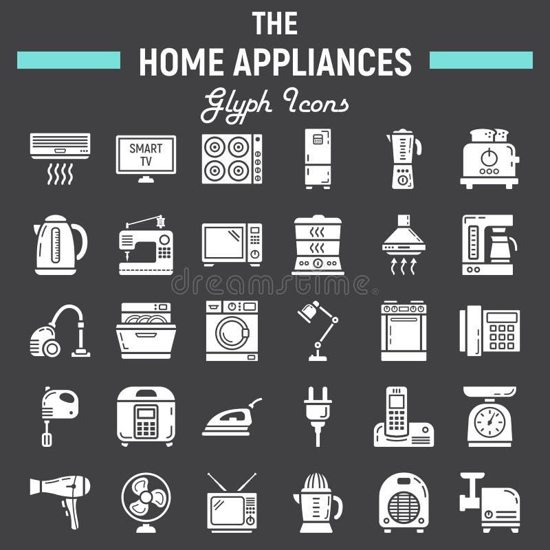 Stevige het pictogramreeks van huistoestellen, technologiesymbolen stock illustratie