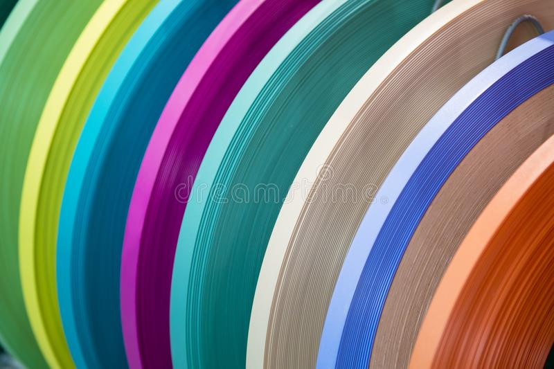 Stevige kleur of houten de rand van korrelpvc het verbinden band ABS rand het verbinden Reeks gekleurde thermoplastische randen M stock foto's