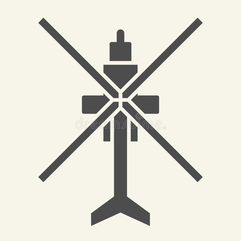 Stevige pictogram van de helikopter het hoogste mening Luchtvaart vectordieillustratie op wit wordt geïsoleerd Het ontwerp van de royalty-vrije illustratie