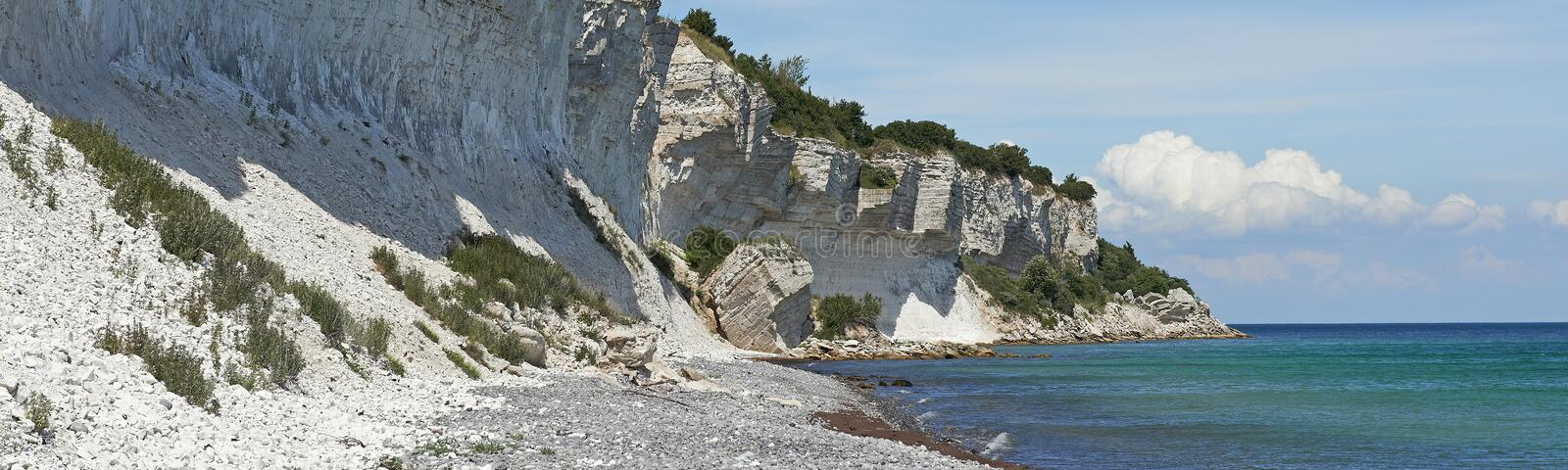 Stevns Cliff, Denmark. Panorama image of the beautiful stevns cliff in Denmark stock photos