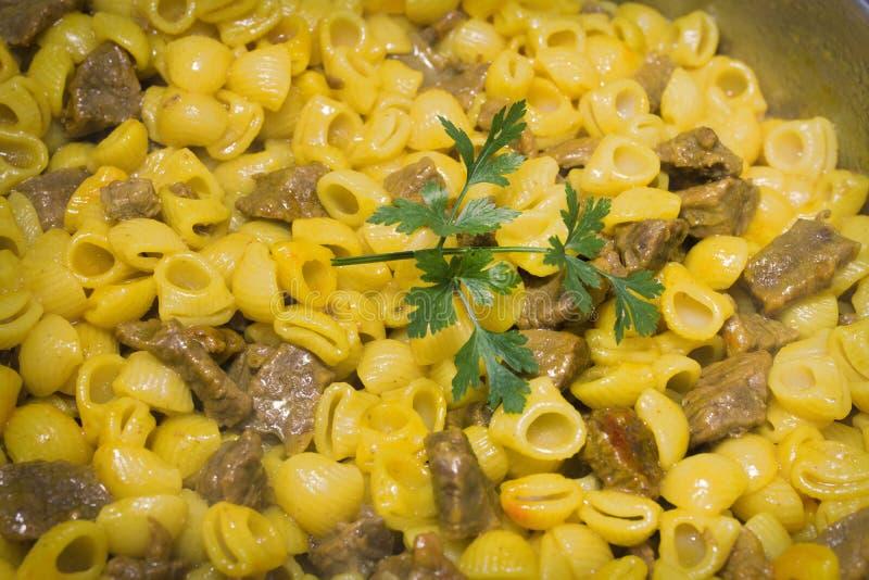 Stew μακαρονιών με το κρέας στοκ εικόνα με δικαίωμα ελεύθερης χρήσης